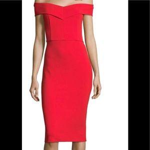 Red Sweetheart Crepe Back Scuba Midi Dress